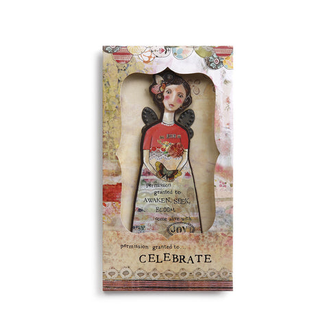 Kelly Rae Roberts Angel Ornament Card-Celebrate