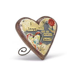 Kelly Rae Roberts Wood Carved Heart-Love