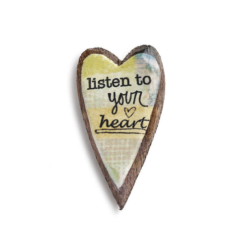 Kelly Rae Roberts Wood Carved Pin-Listen to your Heart **