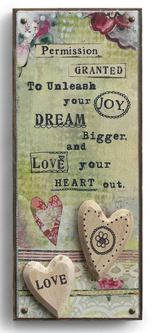 Kelly Rae Roberts Embellished Wall Art -Love Your Heart Out **