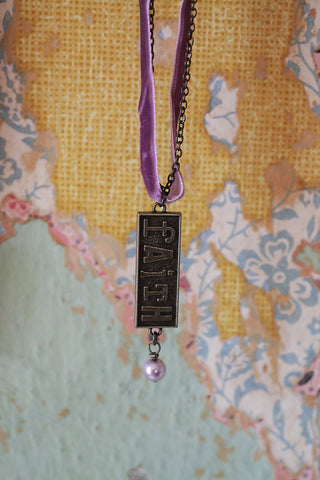 Kelly Rae Roberts Necklace Embossed Charm-Faith **