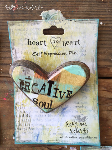 Kelly Rae Roberts Wood Carved Pin-Creative Soul **