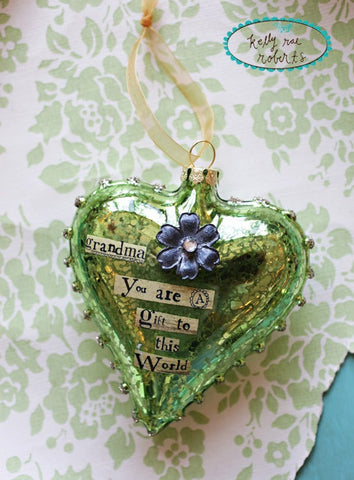 Kelly Rae Roberts Glass Heart Ornament-Grandma