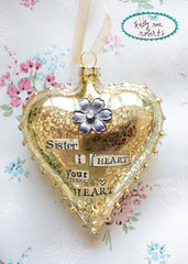 Kelly Rae Roberts Glass Heart Ornament-Sister