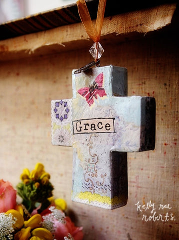 Kelly Rae Roberts Ornament-Cross-Grace **