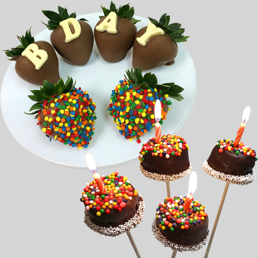 Happy B-Day Belgian Chocolate Dipped Set