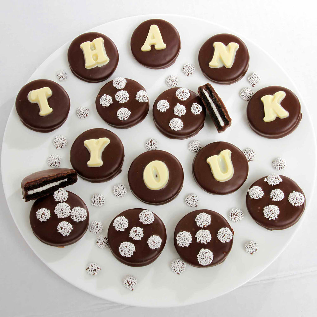 Thank You Belgian Chocolate Dipped Sandwich Cookie Box