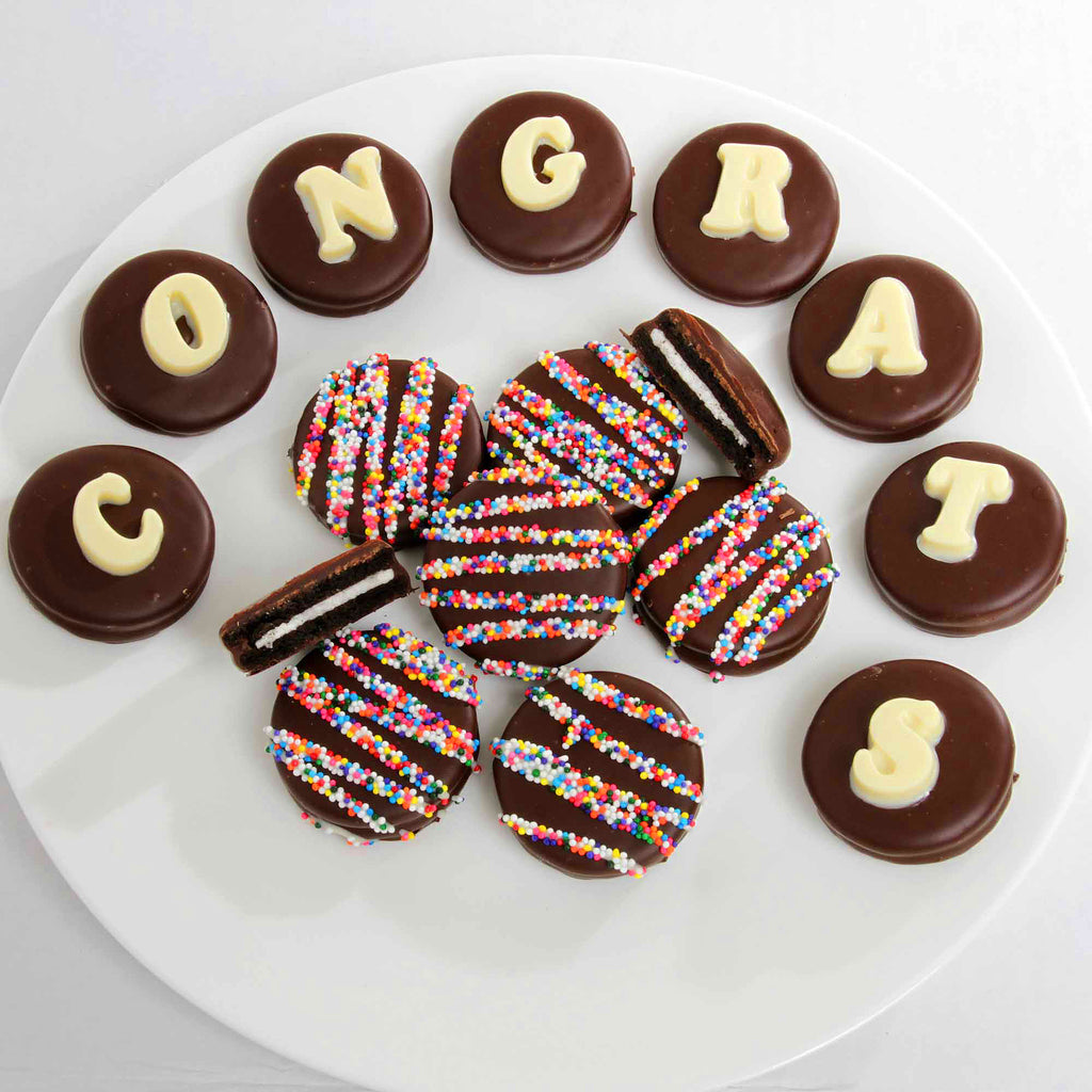 Congrats Belgian Chocolate Dipped Sandwich Cookie Box