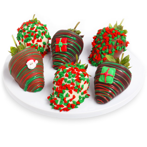 Belgian Chocolate-Covered Christmas Strawberries - Six - Dylan's Candy Bar