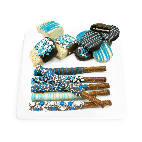 Chocolate-Dipped Hanukkah Rice Krispie Treats, Oreos® & Pretels