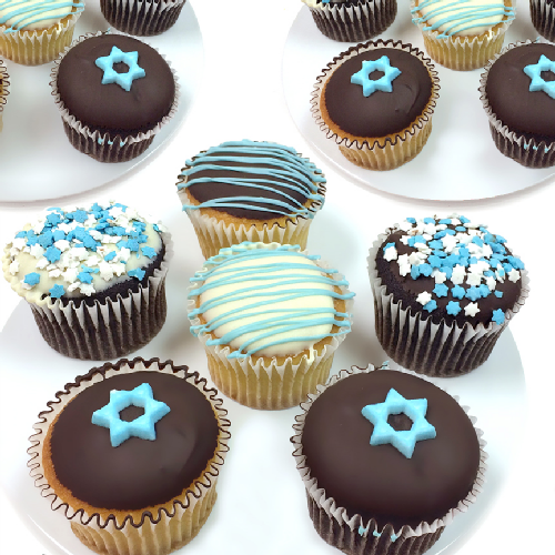 Chocolate-Dipped Hanukkah Cupcakes - Twelve