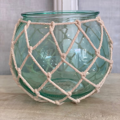 Turquoise Globe Candle Holder with Netting