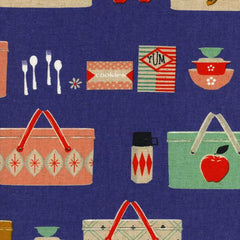 Picnic Baskets Canvas in Cobalt from Picnic by Melody Miller for Cotton+Steel