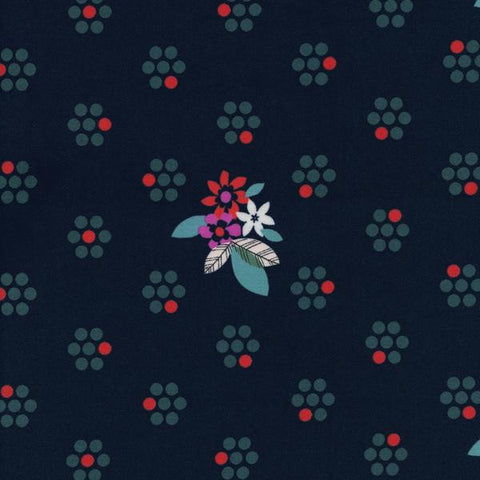 Fruit Dots Fruit Blossoms in Navy