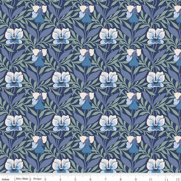 04775648X The Hesketh House Collection Harriet's Pansy in Blue from Liberty of London at Pink Castle Fabrics