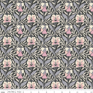 04775648Y The Hesketh House Collection Harriet's Pansy in Pink & Gray from Liberty of London at Pink Castle Fabrics