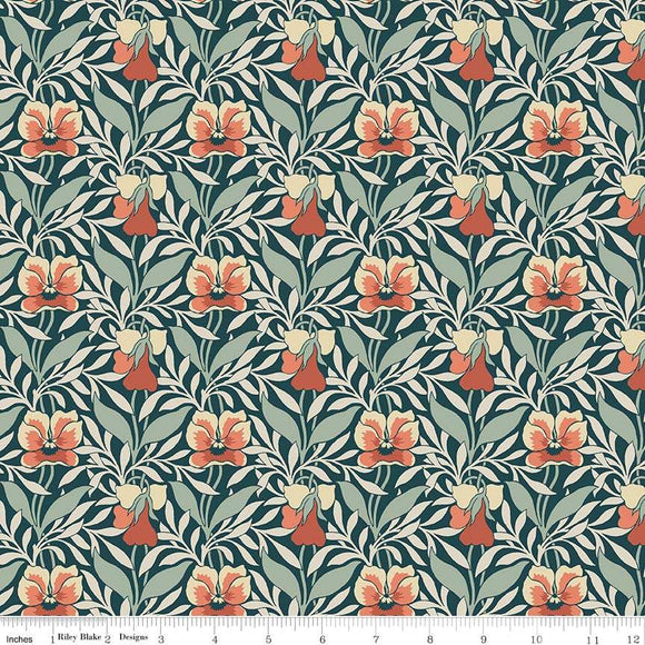 04775648Z The Hesketh House Collection Harriet's Pansy in Green & Red from Liberty of London at Pink Castle Fabrics