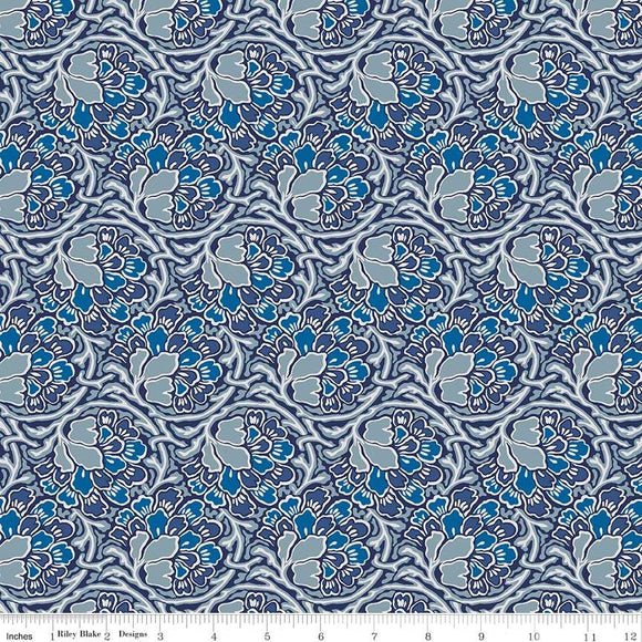 04775649X The Hesketh House Collection Dianthus Dreams in Blue from Liberty of London at Pink Castle Fabrics
