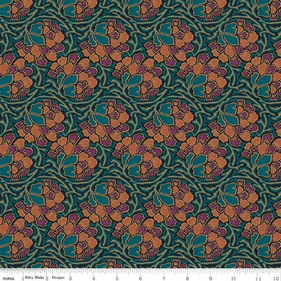04775649Z The Hesketh House Collection Dianthus Dreams in Dark Green from Liberty of London at Pink Castle Fabrics