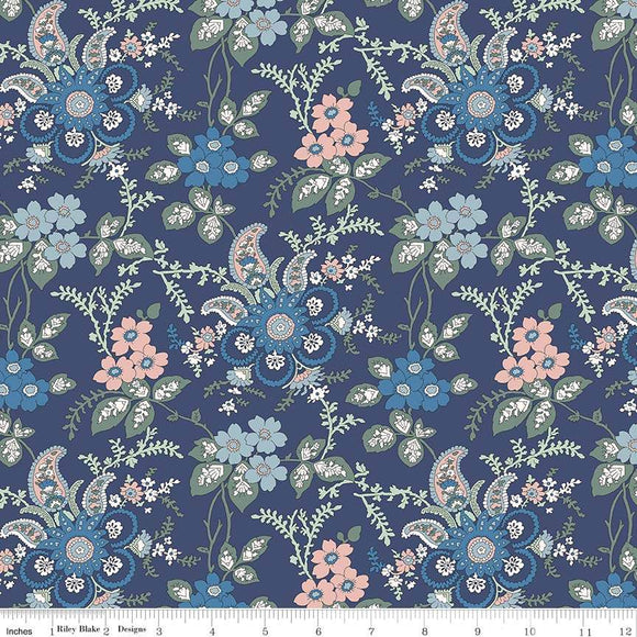 04775651X The Hesketh House Collection Fireside in Blue from Liberty of London at Pink Castle Fabrics