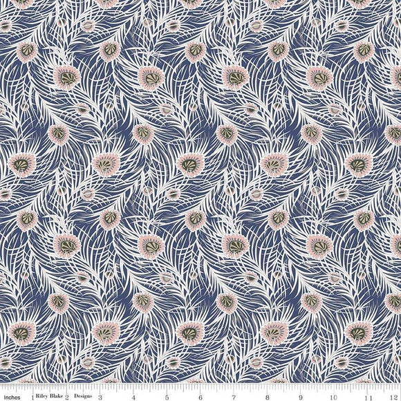 04775653X The Hesketh House Collection Pipers Peacock in Blue from Liberty of London at Pink Castle Fabrics
