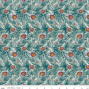 04775653Z The Hesketh House Collection Pipers Peacock in Dark Green from Liberty of London at Pink Castle Fabrics