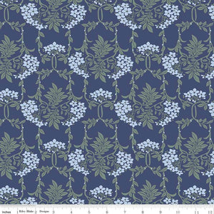 04775654X The Hesketh House Collection Nouveau Mayflower in Blue from Liberty of London at Pink Castle Fabrics