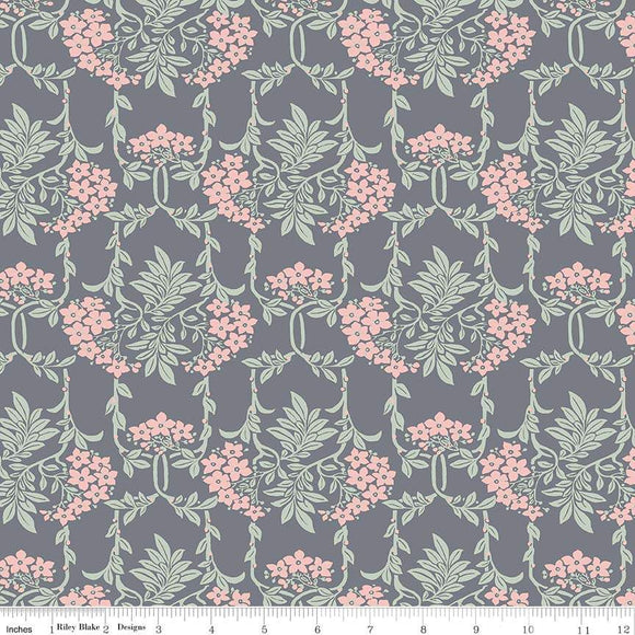04775654Y The Hesketh House Collection Nouveau Mayflower in Gray & Pink from Liberty of London at Pink Castle Fabrics