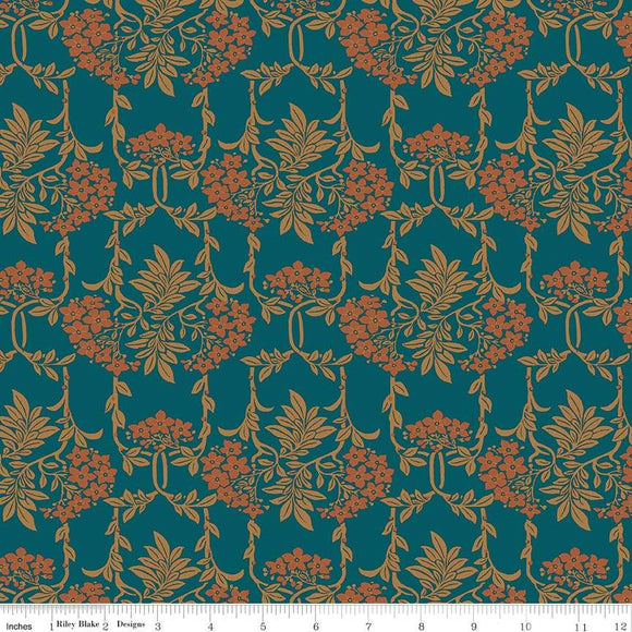04775654Z The Hesketh House Collection Nouveau Mayflower in Dark Green from Liberty of London at Pink Castle Fabrics