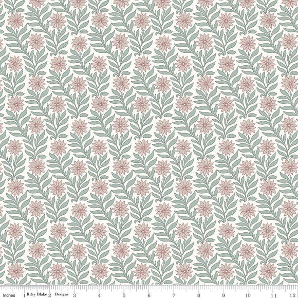 04775655Y The Hesketh House Collection Sweet Marigold in Pink & Light Green from Liberty of London at Pink Castle Fabrics