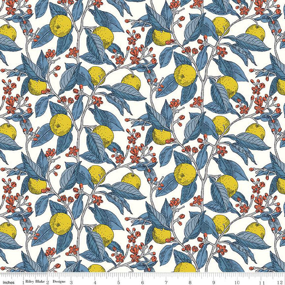 04775668X The Summer House Collection Conservatory Fruits in Yellow by Liberty of London for Riley Blake Designs at Pink Castle Fabrics