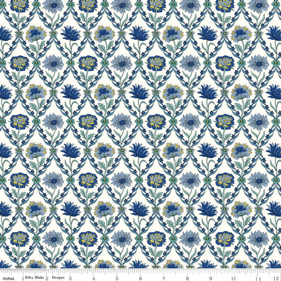 04775670W The Summer House Collection Kew Trellis in Blue by Liberty of London for Riley Blake Designs at Pink Castle Fabrics