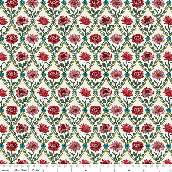04775670Y The Summer House Collection Kew Trellis in Cream by Liberty of London for Riley Blake Designs at Pink Castle Fabrics