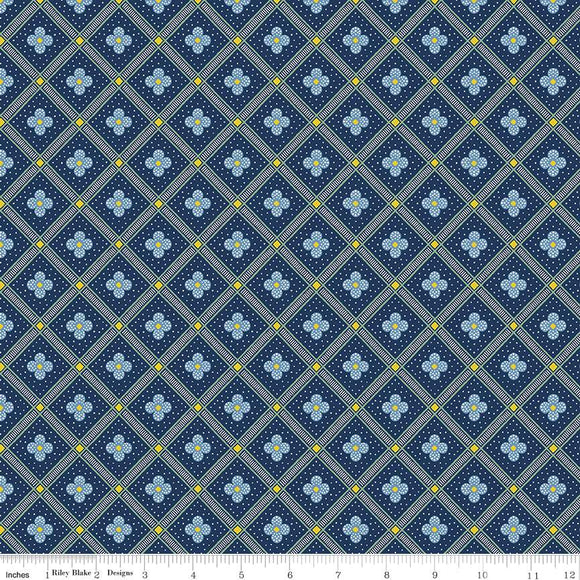 04775671X The Summer House Collection Manor Tile in Navy by Liberty of London for Riley Blake Designs at Pink Castle Fabrics