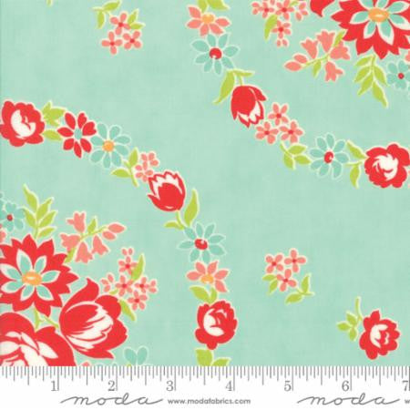 Handmade Floral June in Aqua