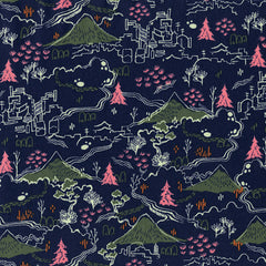 Countryside in Navy from Tokyo Train Ride by Sarah Watts for Cotton+Steel