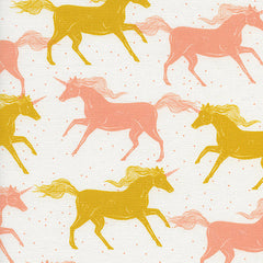 Magic Forest Unicorns in Yellow from Magic Forest by Sarah Watts for Cotton+Steel