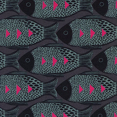 Magic Forest Fish in Charcoal from Magic Forest by Sarah Watts for Cotton+Steel