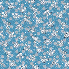 Kitchen Sink XI Flowers and Circles in Blue from Everything But The Kitchen Sink XI by Yuko Hasegawa for Riley Blake