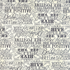 Bee Creative Hive Rules in White from Bee Creative by Deb Strain for Moda