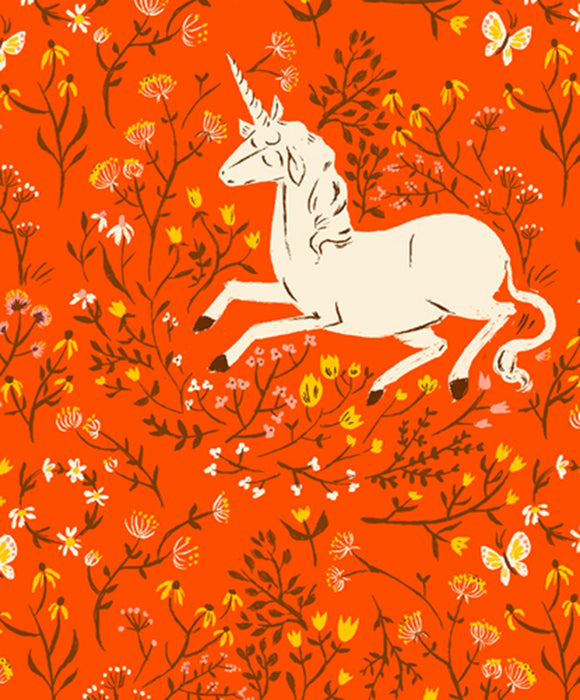Heather Ross 20th Anniversary Unicorn in Orange
