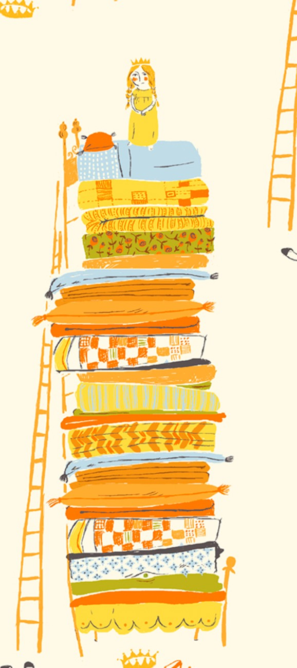 Heather Ross 20th Anniversary Princess and the Pea in Yellow