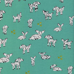 Clover Little Lambs in Turquoise from Clover by Alexia Abegg for Cotton+Steel