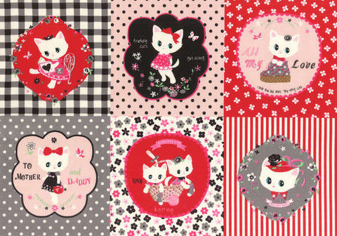 Kitten Doll Baby Panel in Black & Red