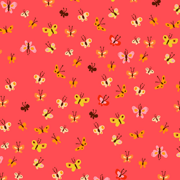 Heather Ross 20th Anniversary Butterflies in Coral