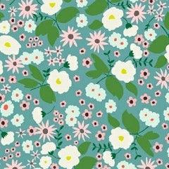 Maribel Packed Floral in Turquoise from Maribel by Annabel Wrigley for Windham