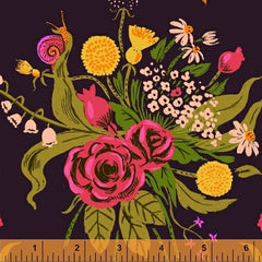 Sleeping Porch Flower Bouquet  in Night Sky from Sleeping Porch by Heather Ross for Windham