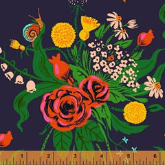 Sleeping Porch Flower Bouquet  in Dark Blue from Sleeping Porch by Heather Ross for Windham