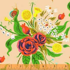 Sleeping Porch Flower Bouquet  in Peach from Sleeping Porch by Heather Ross for Windham