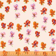 Sleeping Porch Colorful Flowers in Cream from Sleeping Porch by Heather Ross for Windham
